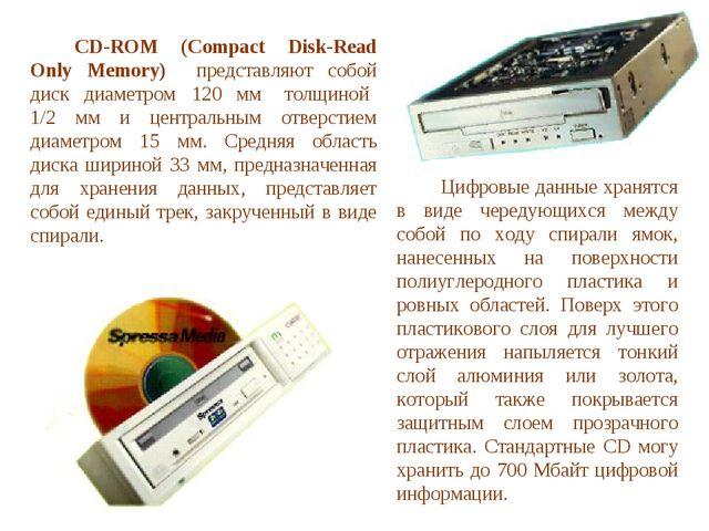 CD-ROM (Compact Disk-Read Only Memory) представляют собой диск диаметром 12...