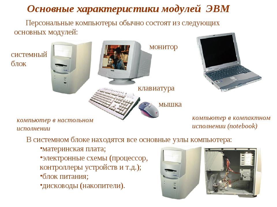 системный блок Основные характеристики модулей ЭВМ компьютер в настольном исп...