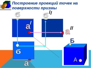 Построение проекций точек на поверхности призмы