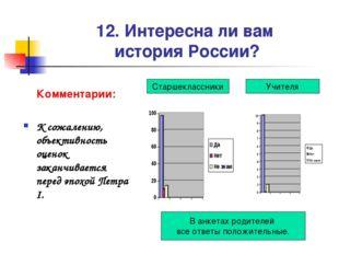 12. Интересна ли вам история России? Комментарии: К сожалению, объективность