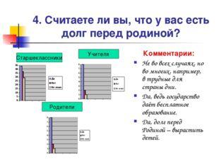 4. Считаете ли вы, что у вас есть долг перед родиной? Комментарии: Не во всех