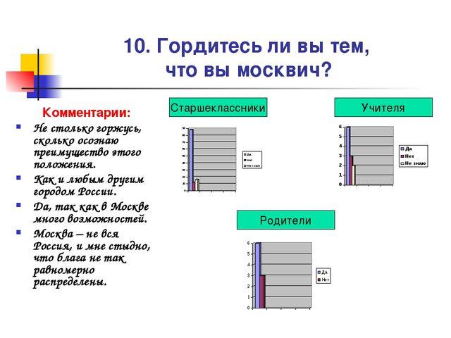 10. Гордитесь ли вы тем, что вы москвич? Комментарии: Не столько горжусь, ско...