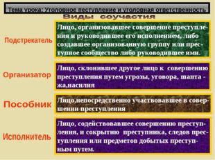 Тема урока: Уголовное пеступление и уголовная ответственность Лицо, организов