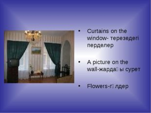 Curtains on the window- терезедегі перделер A picture on the wall-жардағы сур