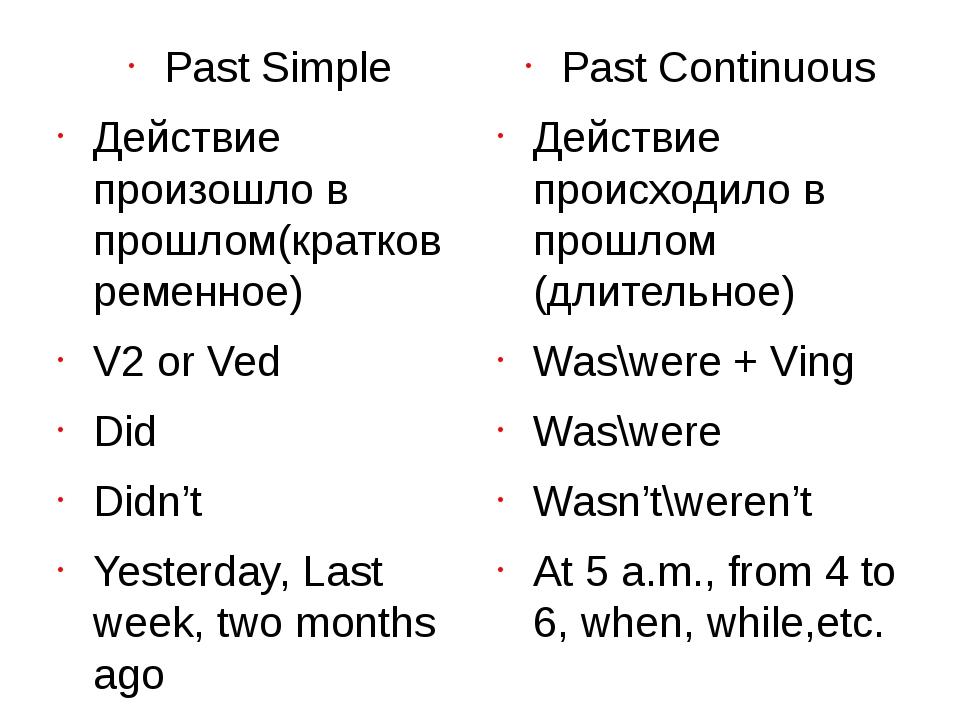 Past Simple Действие произошло в прошлом(кратковременное) V2 or Ved Did Didn...