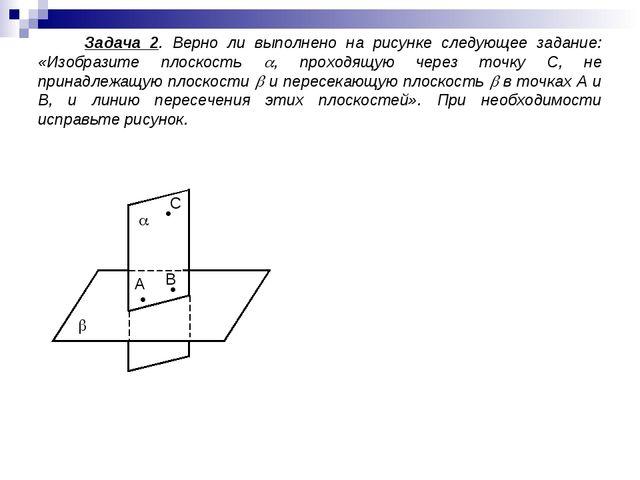 Задача 2. Верно ли выполнено на рисунке следующее задание: «Изобразите плоск...