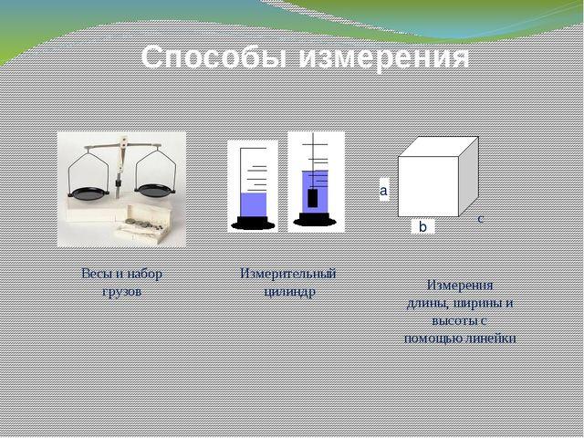 Способы измерения а b c Весы и набор грузов Измерительный цилиндр Измерения...