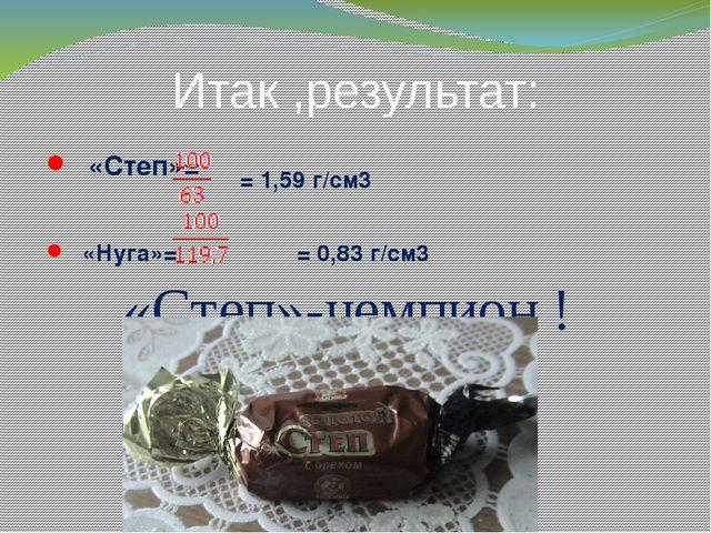 Итак ,результат: Ρ«Степ»= Ρ«Нуга»= = 0,83 г/cм3 = 1,59 г/cм3 «Степ»-чемпион !