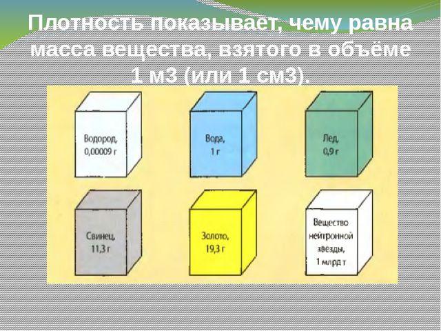 Плотность показывает, чему равна масса вещества, взятого в объёме 1 м3 (или 1...
