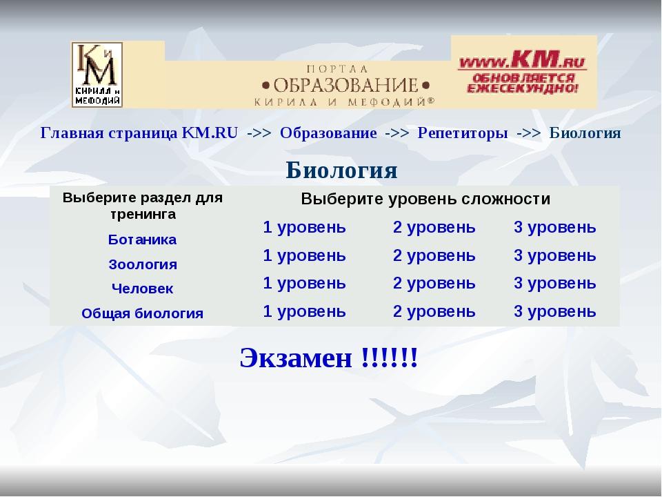 Главная страница KM.RU ->> Образование ->> Репетиторы ->> Биология Биол...