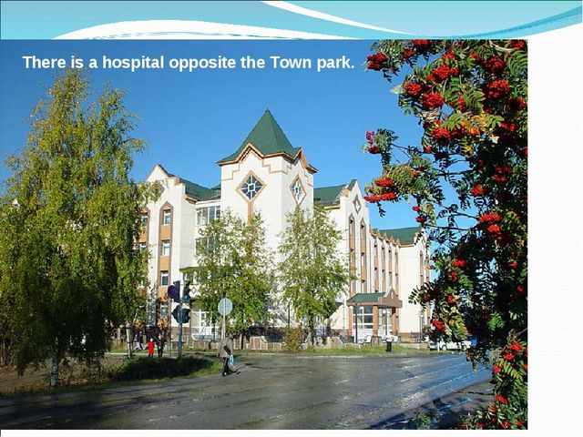 There is a hospital opposite the Town park.
