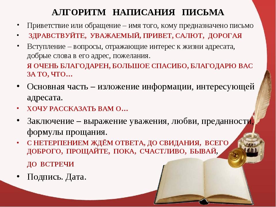 АЛГОРИТМ НАПИСАНИЯ ПИСЬМА Приветствие или обращение – имя того, кому предназн...