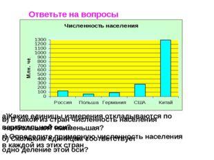 Ответьте на вопросы а)Какие единицы измерения откладываются по вертикальной о