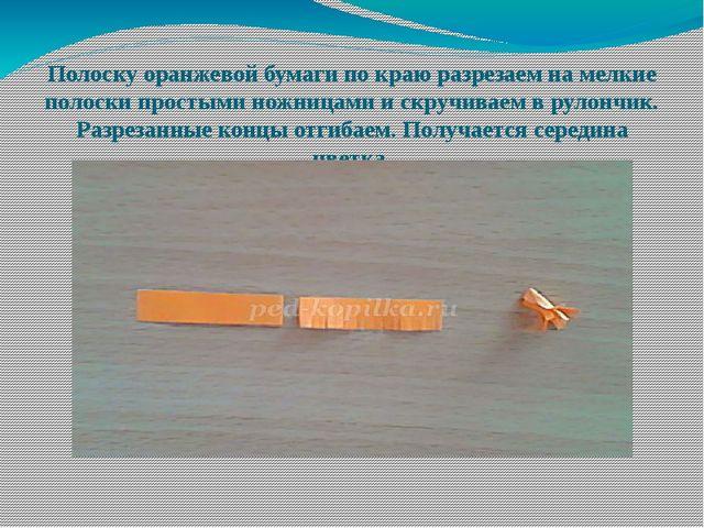 Полоску оранжевой бумаги по краю разрезаем на мелкие полоски простыми ножница...