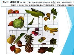 ЗАПОМНИ! Полезно есть продукты: овощи и фрукты, молочные продукты, мясо и рыб