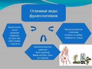 Основные виды фразеологизмов Фразеологические сращения (идиомы) (to show the