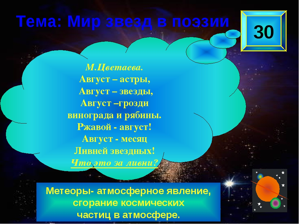 Метеоры- атмосферное явление, сгорание космических частиц в атмосфере. 30 М.Ц...