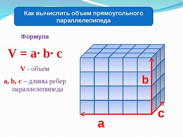 Формула V = a∙ b∙ c V - объем a, b, c – длины ребер параллелепипеда Как вычис...