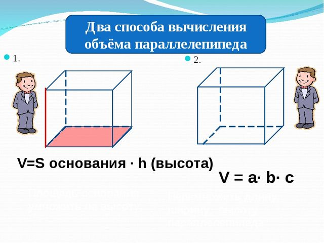 1. 2. Два способа вычисления объёма параллелепипеда Площадь основания умножит...