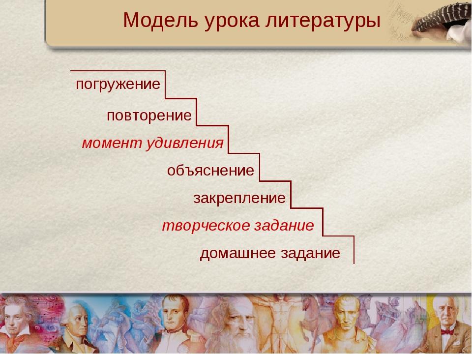 Модель урока литературы погружение повторение момент удивления объяснение зак...