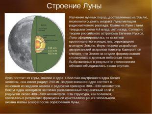 Строение Луны Изучение лунных пород, доставленных на Землю, позволило оценить