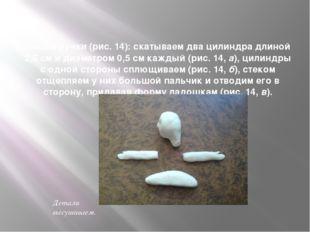 Лепим ручки (рис. 14): скатываем два цилиндра длиной 2,5 см и диаметром 0,5