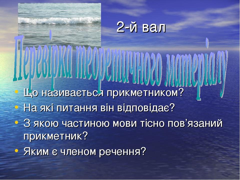 2-й вал Що називається прикметником? На які питання він відповідає? З якою ч...