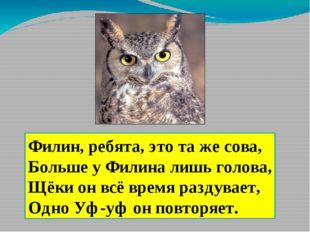 Филин, ребята, это та же сова, Больше у Филина лишь голова, Щёки он всё время