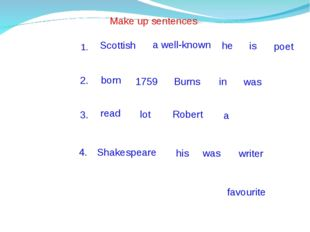Make up sentences a well-known Scottish he is poet 1. 2. born 1759 Burns in w