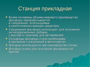 Станция прикладная Более половины объема мирового производства фосфора перера