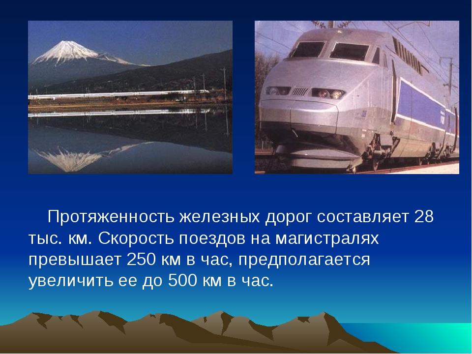 Протяженность железных дорог составляет 28 тыс. км. Скорость поездов на магис...