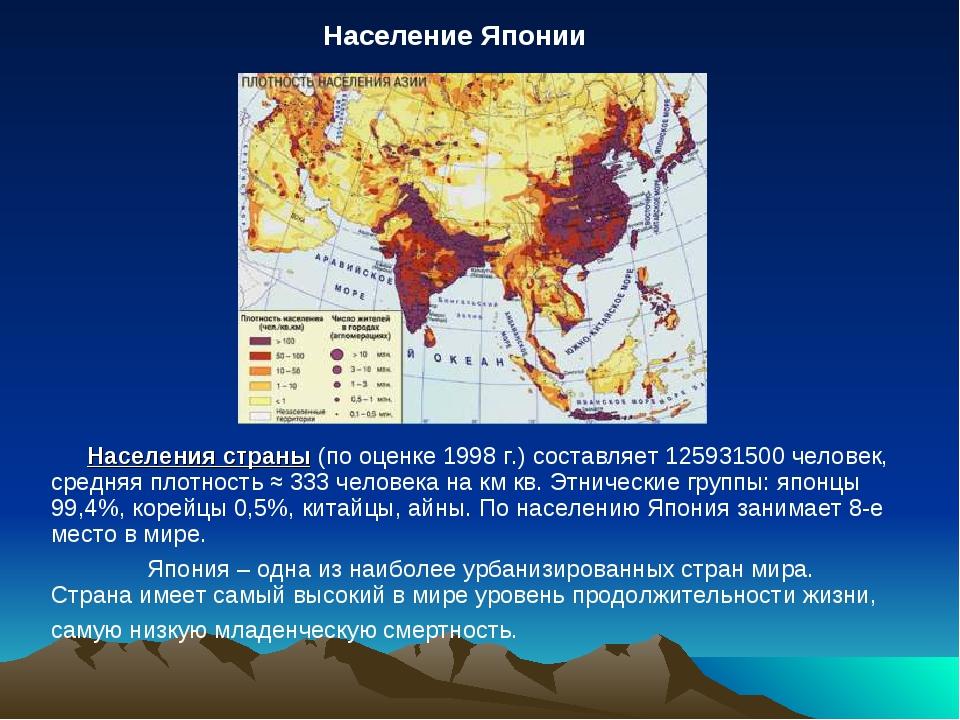 Населения страны (по оценке 1998 г.) составляет 125931500 человек, средняя п...
