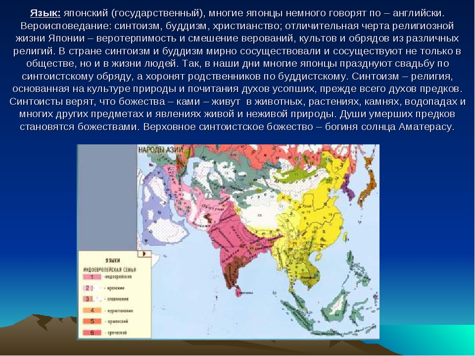 Язык: японский (государственный), многие японцы немного говорят по – английск...