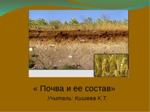 « Почва и ее состав» Учитель: Кишева К.Т.