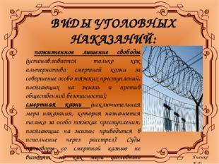 ВИДЫ УГОЛОВНЫХ НАКАЗАНИЙ: пожизненное лишение свободы (устанавливается только