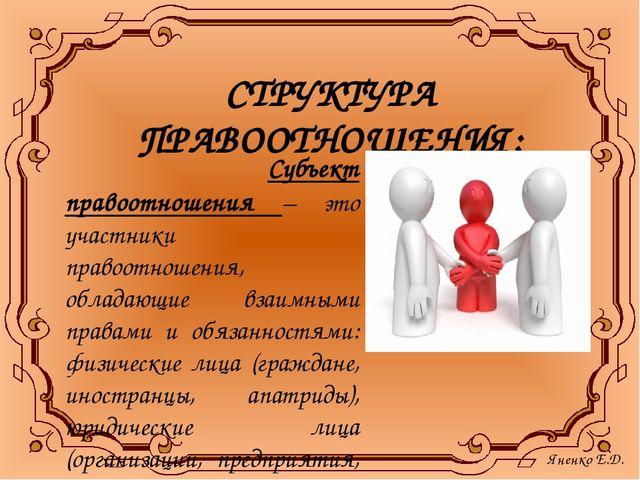 СТРУКТУРА ПРАВООТНОШЕНИЯ: Субъект правоотношения – это участники правоотношен...
