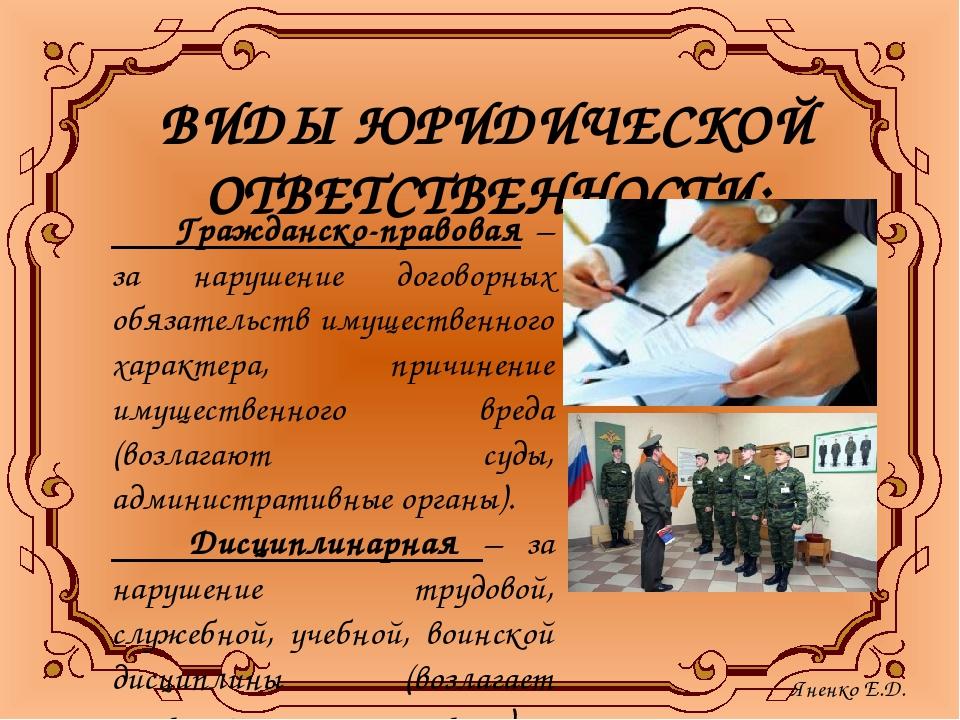 ВИДЫ ЮРИДИЧЕСКОЙ ОТВЕТСТВЕННОСТИ: Гражданско-правовая – за нарушение договорн...
