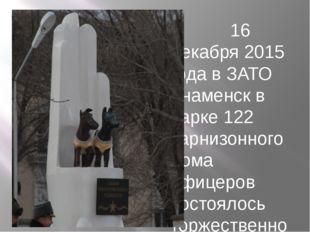 16 декабря 2015 года в ЗАТО Знаменск в парке 122 Гарнизонного дома офицеров