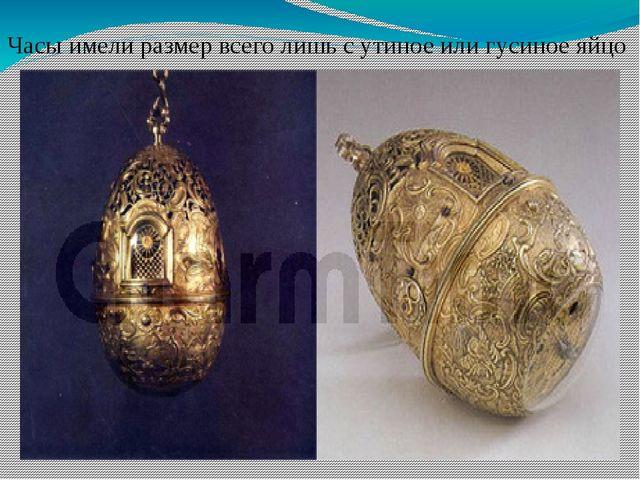 Часы имели размер всего лишь с утиное или гусиное яйцо