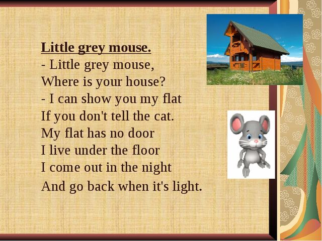 Little grey mouse. - Little grey mouse, Where is your house? - I can show you...