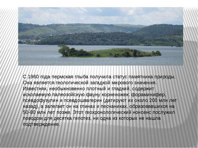 С 1960 года пермская глыба получила статус памятника природы. Она является ге...