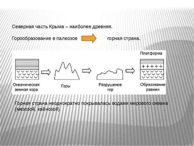Северная часть Крыма – наиболее древняя. Горообразование в палеозое горная ст...