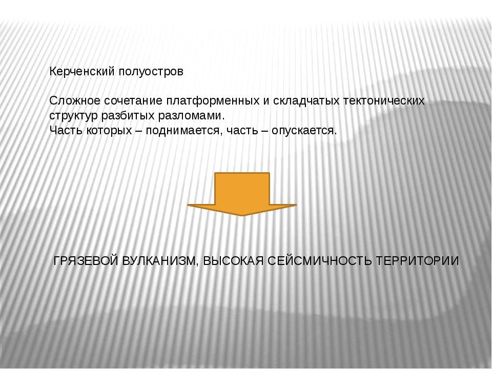 Керченский полуостров Сложное сочетание платформенных и складчатых тектоничес...