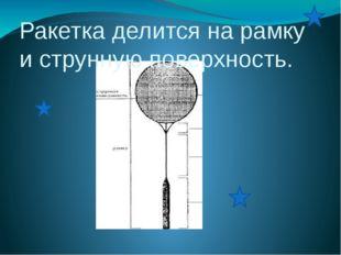 Ракетка делится на рамку и струнную поверхность.