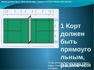 1Корт должен быть прямоугольным, размеченным линиями Линии должны быть легко