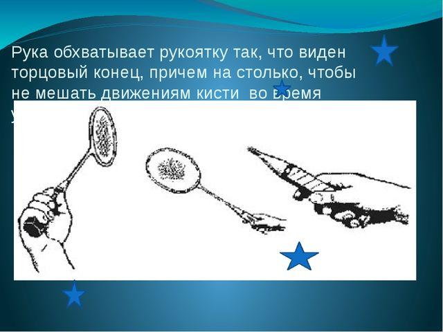 Рука обхватывает рукоятку так, что виден торцовый конец, причем на столько, ч...