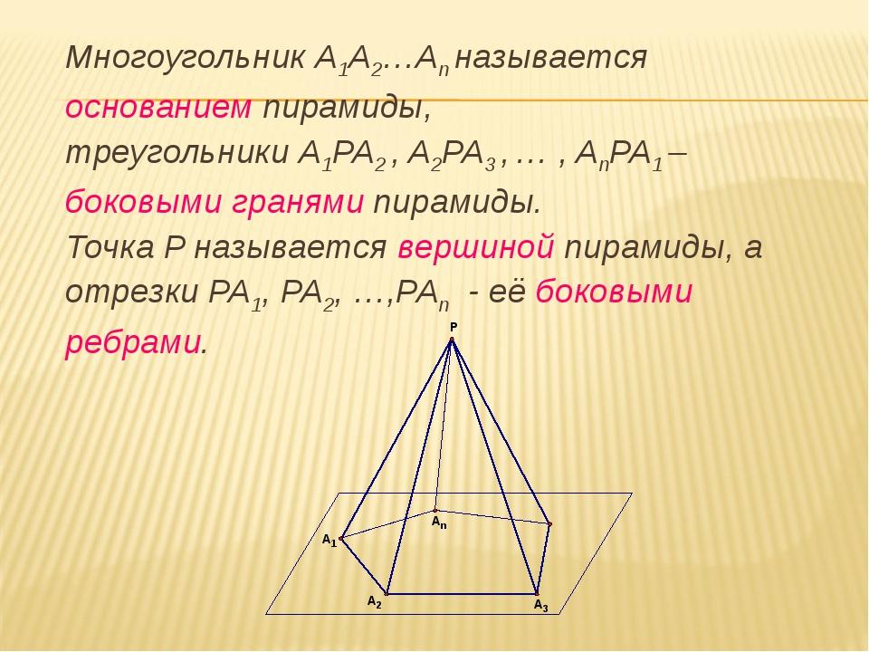 Многоугольник A1A2…An называется основанием пирамиды, треугольники A1PA2 ,...