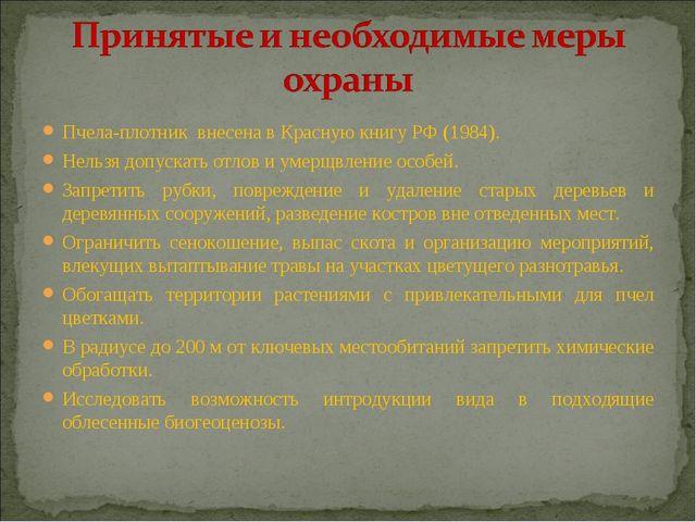 Пчела-плотник внесена в Красную книгу РФ (1984). Нельзя допускать отлов и уме...