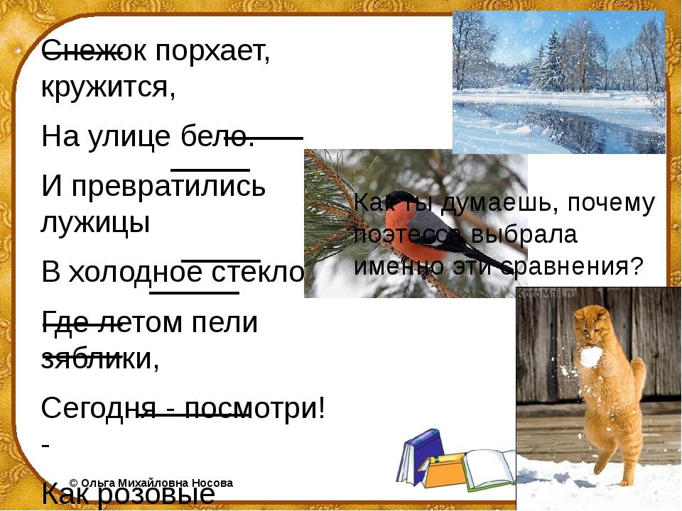 Снежок порхает, кружится, На улице бело. И превратились лужицы В холодное сте...