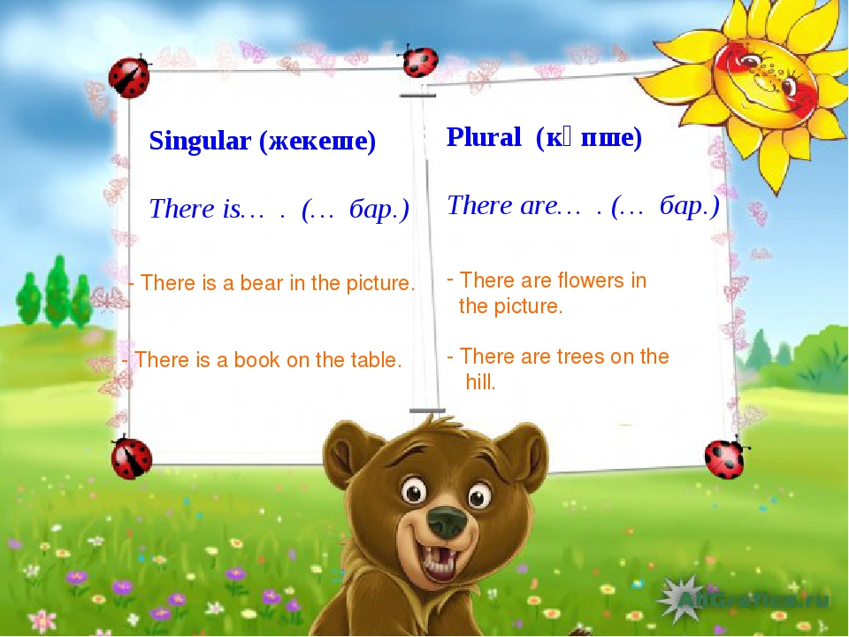 Singular (жекеше) There is… . (… бар.) Plural (көпше) There are… . (… бар.) -...